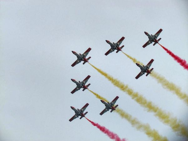 Patrulla Aguila Teamwork Order In A Row Transportation Mode Of Transport Arrangement Flying Speed Air Vehicle Skill  Multi Colored Coordination Group Of Objects Airshow Journey Military Airplane Cooperation Mid-air Fighter Plane Performance Waterfront Calm Vacations Summer Outdoors