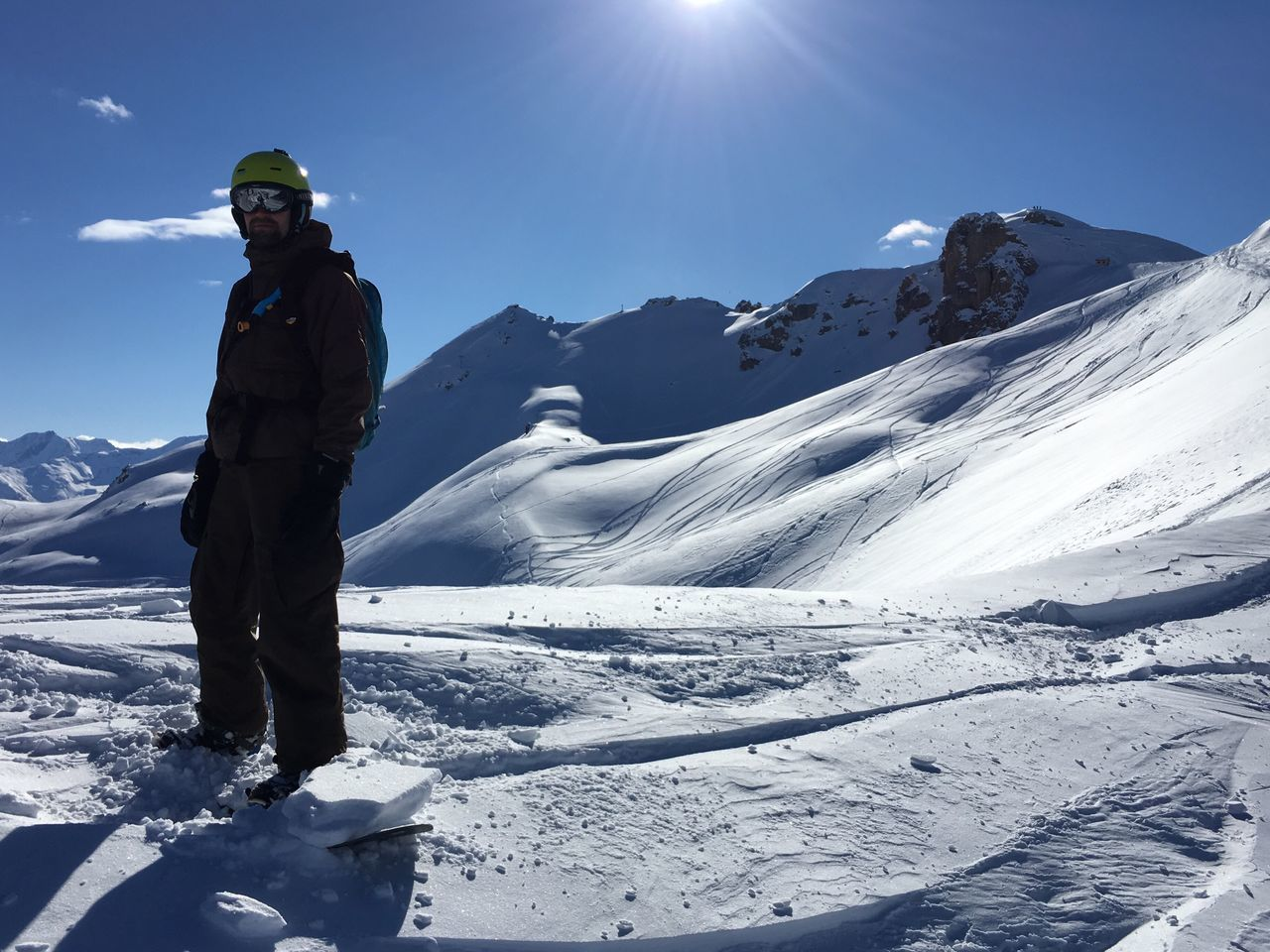 Showcase March Snowboarding Off Piste Backcountry Rider Winter Winter Wonderland Snow Portrait Gear Bluebird Day Blue Sky Tracks Mountains Alps Serre Chevalier