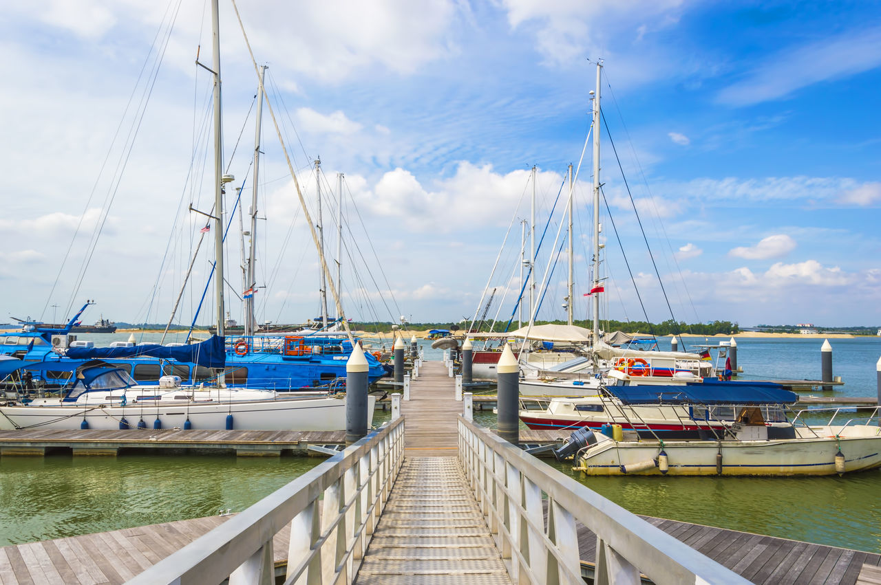 nautical vessel, transportation, moored, sky, cloud - sky, mode of transport, harbor, water, mast, day, no people, sea, outdoors, jetty, nature, sailboat