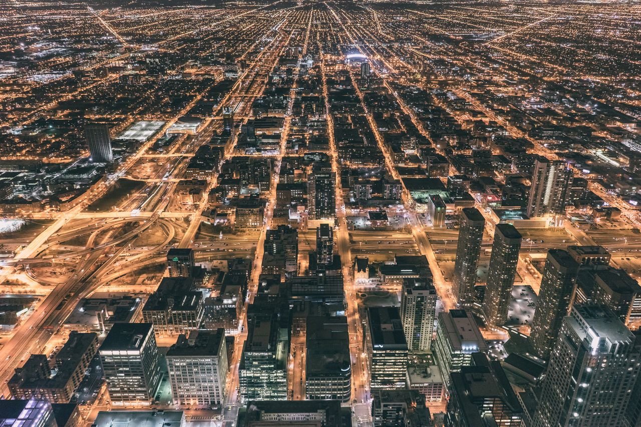 Architecture Building Exterior Chicago City City Life Cityscape Downtown District High Angle View Illinois Night Skyscraper Travel Destinations Urban Skyline Flying High Flying High Fresh On Market 2017