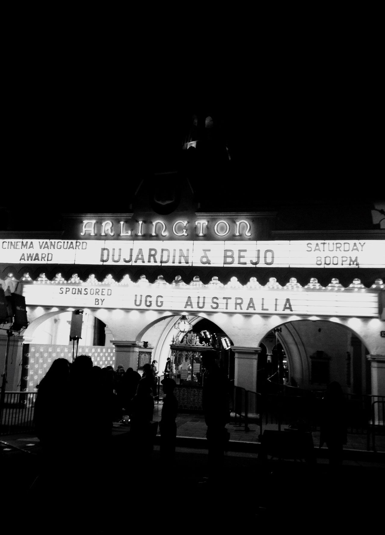 QVHoughPhoto Santabarbara California Filmfestival Arlingtontheatre Jeandujardin Berenicebejo Theartist Marquee Blackandwhite IPhoneography IPhone4s