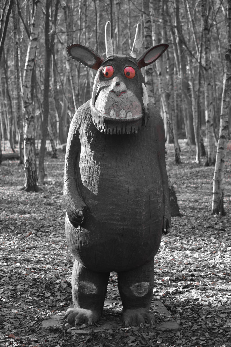 Black & White Black And White Day Forest Forest Walk Gruffalo Gruffalo Hunt Gruffalo Trail Isolated Red Lots Of Leaves Nature No People Outdoors Red Eyes Tree Trees WoodLand