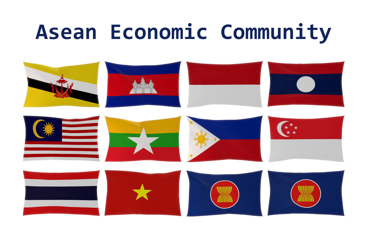 3D rendering of ASEAN country flags (Association of Southeast Asian Nations) and Asean Economic Community (AEC) membership 3d Rendering Aec Asean ASIA Asian  Association Brunei Darussalam Cambodia Community Economic Flag Illustration Indonasia Laos Malaysia Myanmar Nation Philippines Sign Singapore Southeastasia Symbol Thailand Together Vietnam