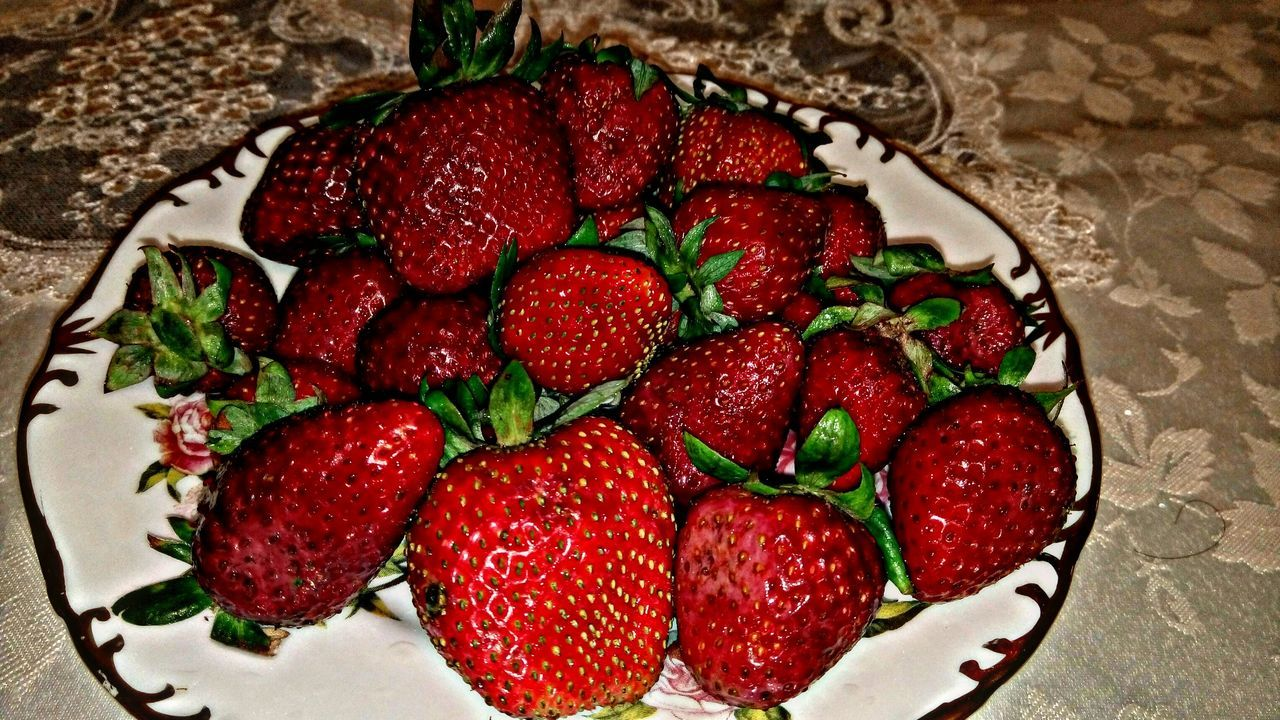 strawberry, food and drink, fruit, red, food, freshness, healthy eating, indoors, dessert, sweet food, no people, close-up, ready-to-eat, day