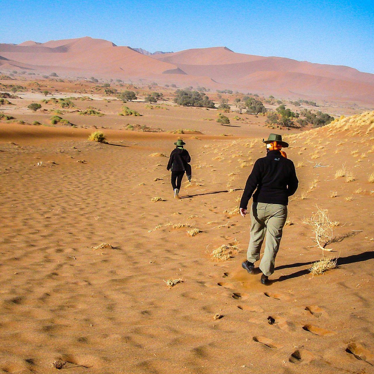 Rear View Of People Walking On Sand At Namib Desert
