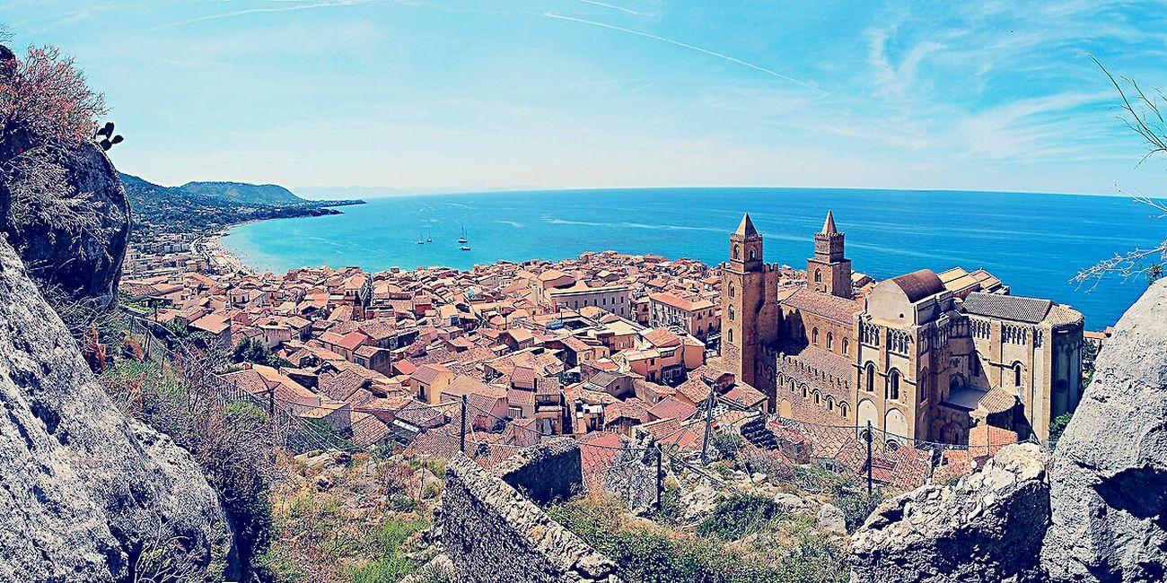 Blue Sky Blue Wave Architecture Historical Building Historic City Cefalú, Sicilia, Mare, Paesaggio
