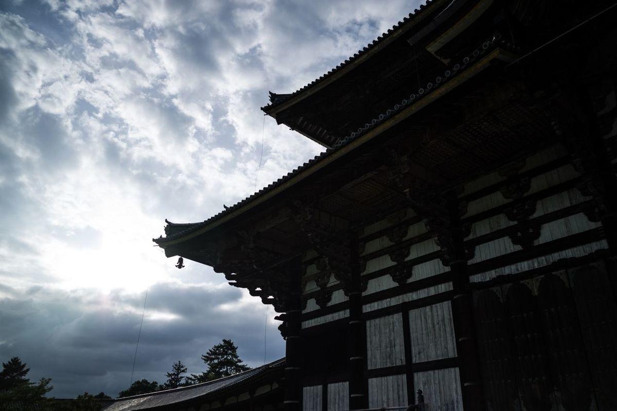 Japan Nara Temple Sky Toudaiji Japanese Culture Bright Bright Lights