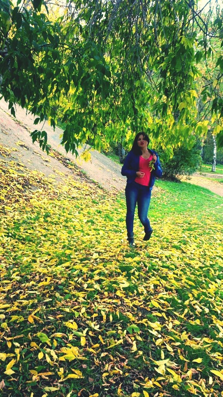 leaf, nature, real people, growth, full length, tree, green color, autumn, leisure activity, beauty in nature, lifestyles, day, plant, one person, scenics, outdoors, field, tranquility, tranquil scene, grass, standing, young women, young adult, people