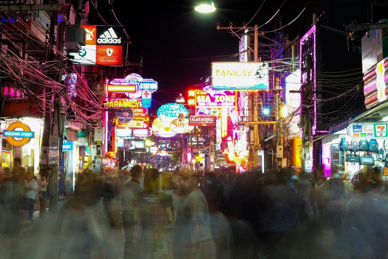 Walking street Night Illuminated City City Street City Life Large Group Of People Nightlife Real People Outdoors Neon Women Architecture Fujifilmru Fujifilm Fujifilm_xseries Traveling Home For The Holidays Adapted To The City