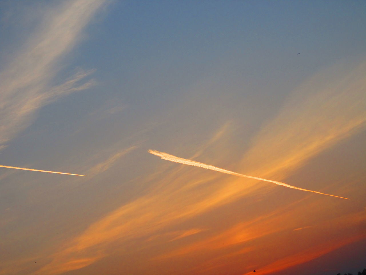 vapor trail, contrail, scenics, majestic, low angle view, nature, beauty in nature, sky, no people, outdoors, tranquility, sunset, day