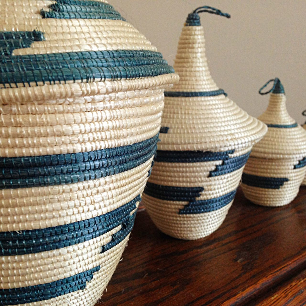 Still Life Close-up No People Indoors  Day Basket Peace Texture Three Objects Group Of Objects Blue Woven Woven Pattern Rwanda
