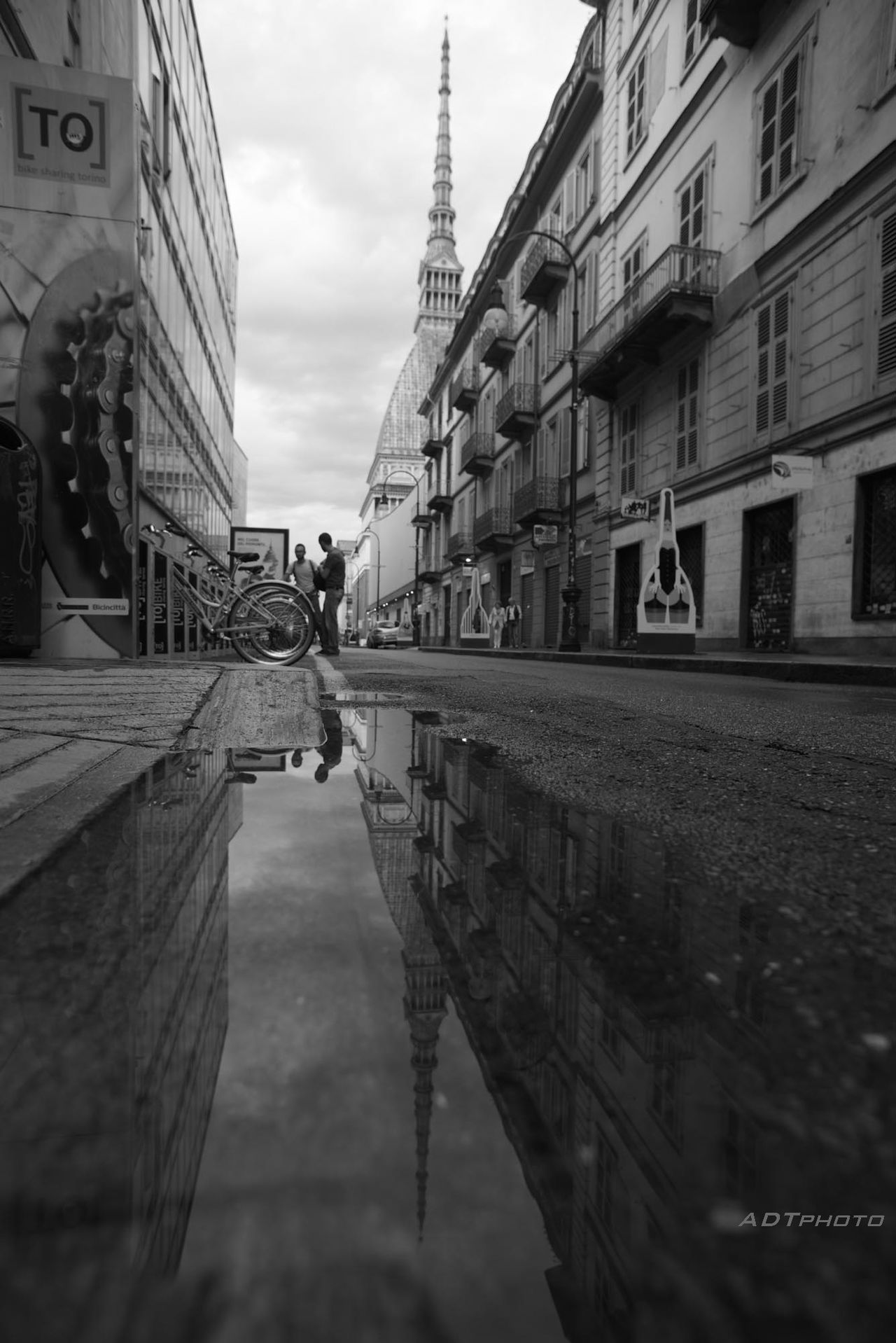 Mole Antonelliana Torino , La Mole Torino Reflection Reflecions In The Water Italy Black And White Streetphotography Street View After The Rain