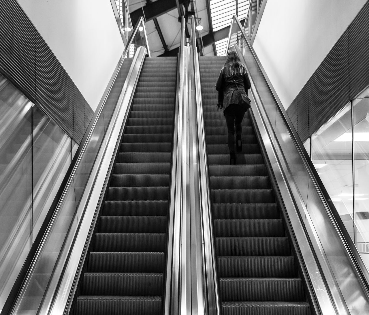 Architecture Black & White Black And White Built Structure Day Escalator Low Angle View Modern No People One Person Outdoors Rolltreppe Staircase Steps