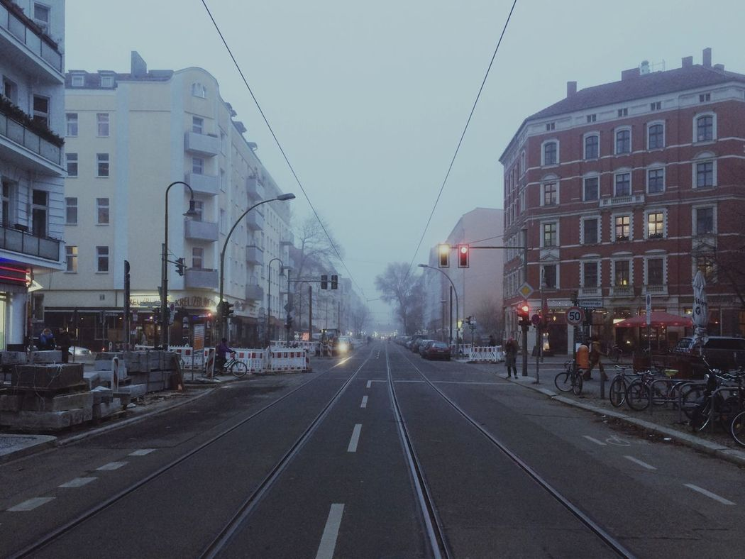 Street City Transportation Building Exterior Architecture Road Car Built Structure Outdoors Clear Sky Land Vehicle Day Sky No People Prenzlauerberg Berlin Fog Pappelallee