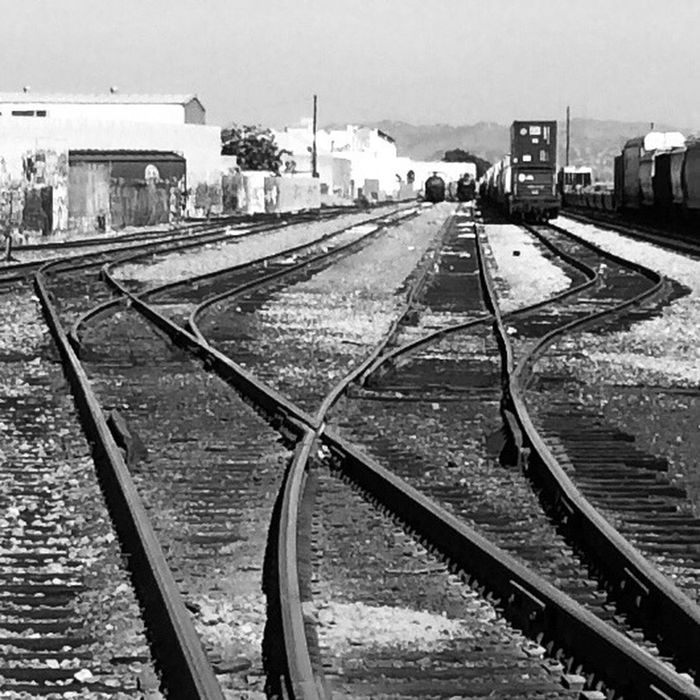 Train Yard, merging rails Streetphoto_bw Urban Landscape Black And White Monochrome