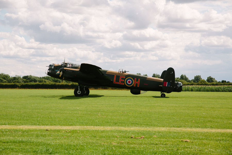 World War 2 Airshow Avro Anson Cloud - Sky Day Grass Lancaster Bomber Military Military Airplane No People No People, Outdoors Sky Transportation War
