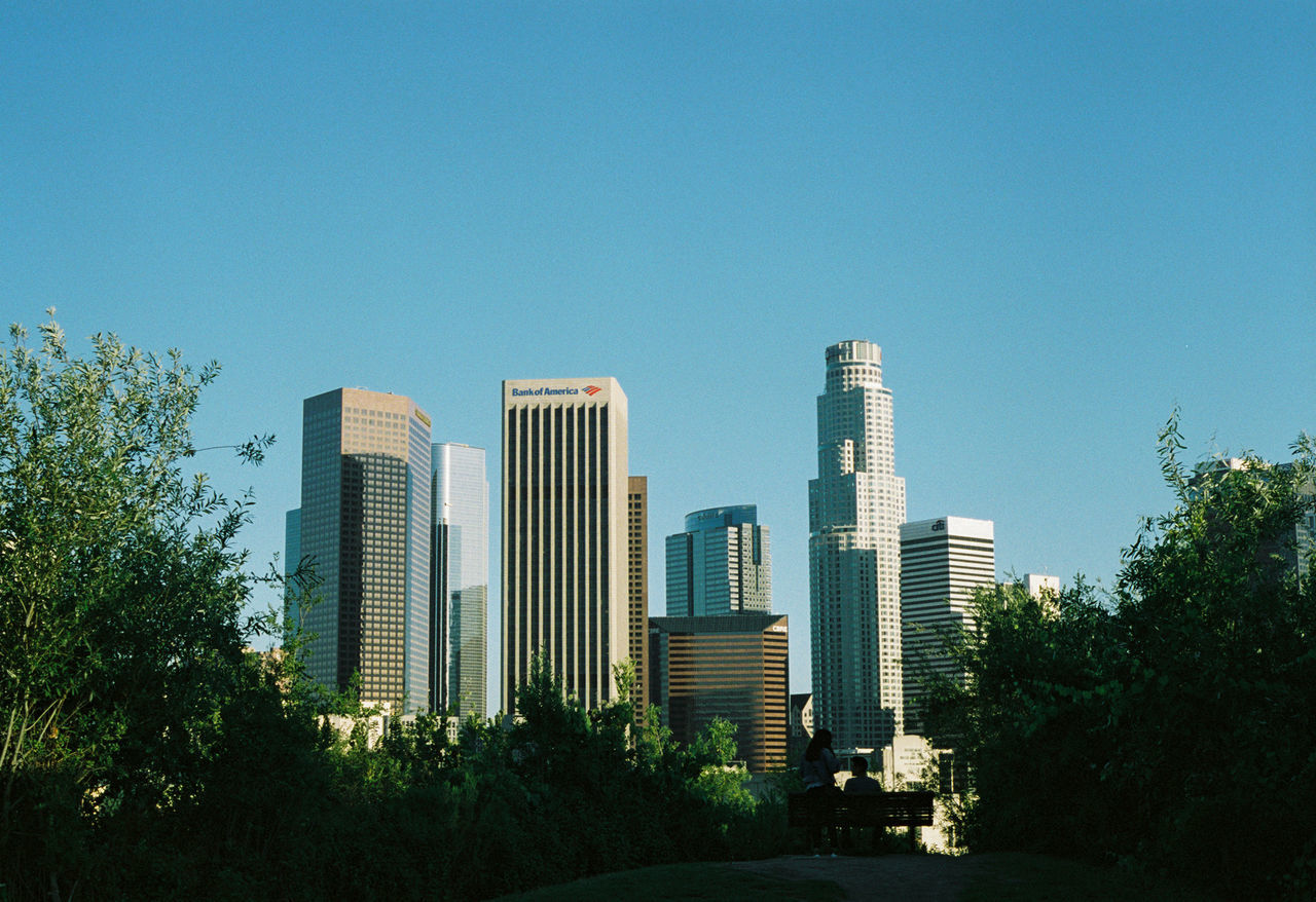 Downtown Los Angeles, view from Vista Hermosa Park 35mm Film Downtown Downtown LA Film Los Angeles, California Los Ángeles Architecture Blue City Day Growth Modern Sky Skyscraper