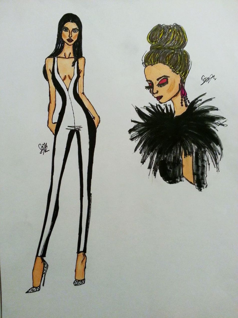 Sketching Jumpsuit Fashion Feltip Beauty Blackandwhite Red Illustrations  Faces