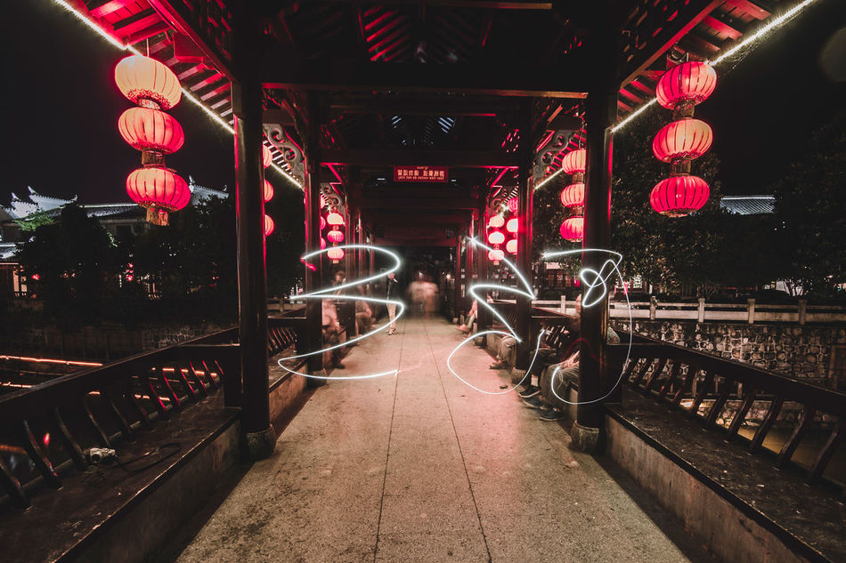 The Chinese characters are San He. Painting with my phone. Anhui Bright China Chinese Classic Architecture Corridor Illuminated Lantern Light Painting Night Red Sanhe Tour Traditional Travel