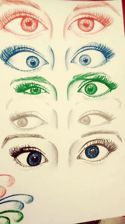Cuteeee♥♡♥ Drawing ✏ Art, Drawing, Creativity Relaxing Black Eyes Blue Eyes Red Eyes Brown Eyes Eyes Green✏🎨😲😌😅