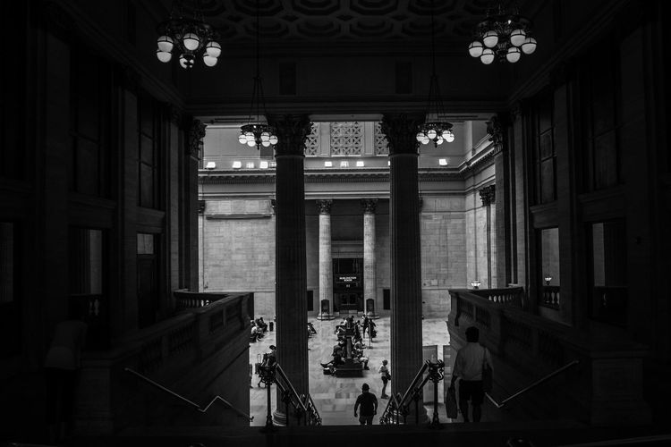 Architecture Built Structure Architectural Column Travel Destinations Indoors  History Travel Union Station Chicago Black & White