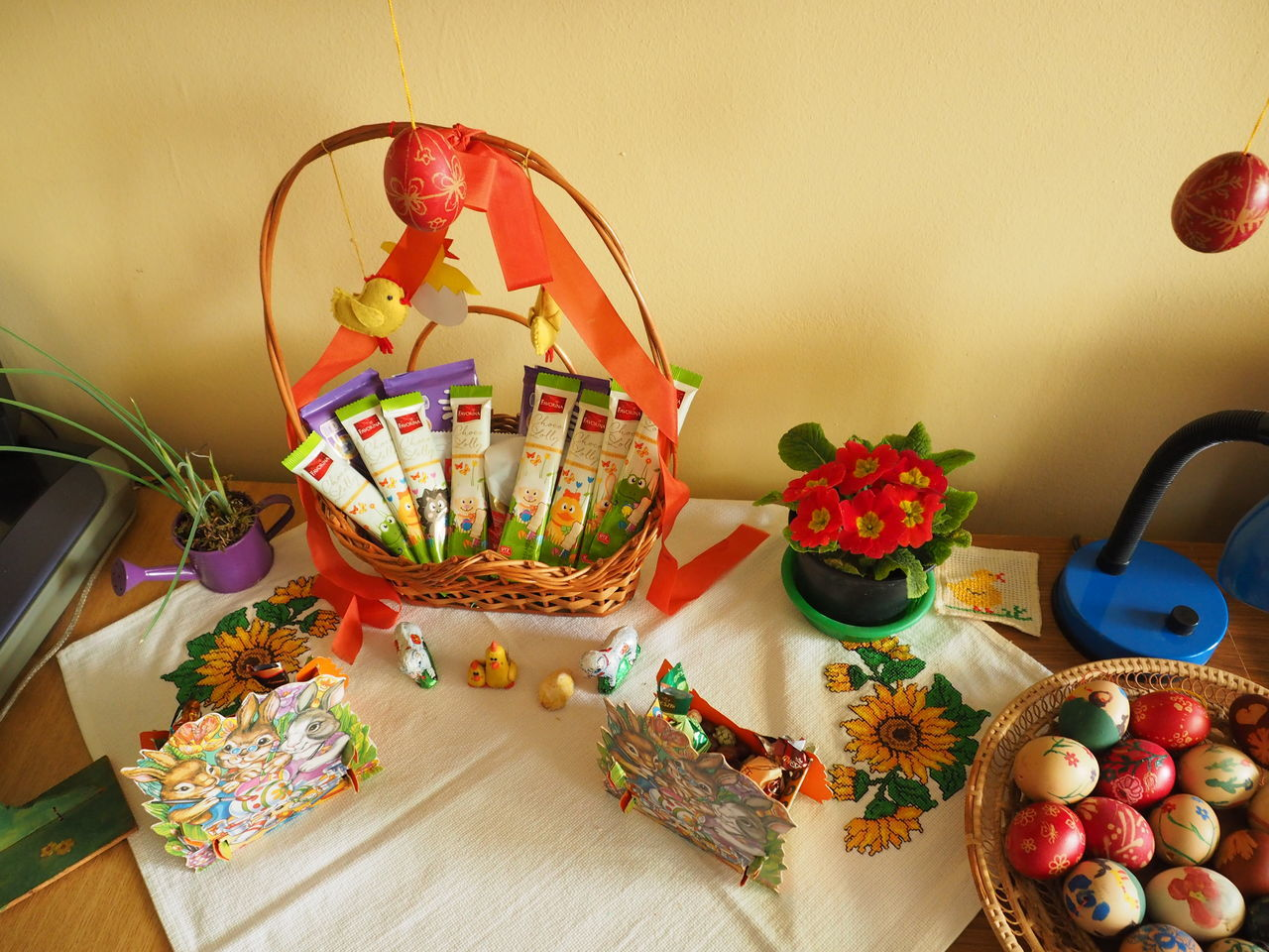 table, indoors, still life, food and drink, multi colored, basket, easter egg, food, no people, sweet food, tradition, celebration, freshness, large group of objects, healthy eating, close-up, day