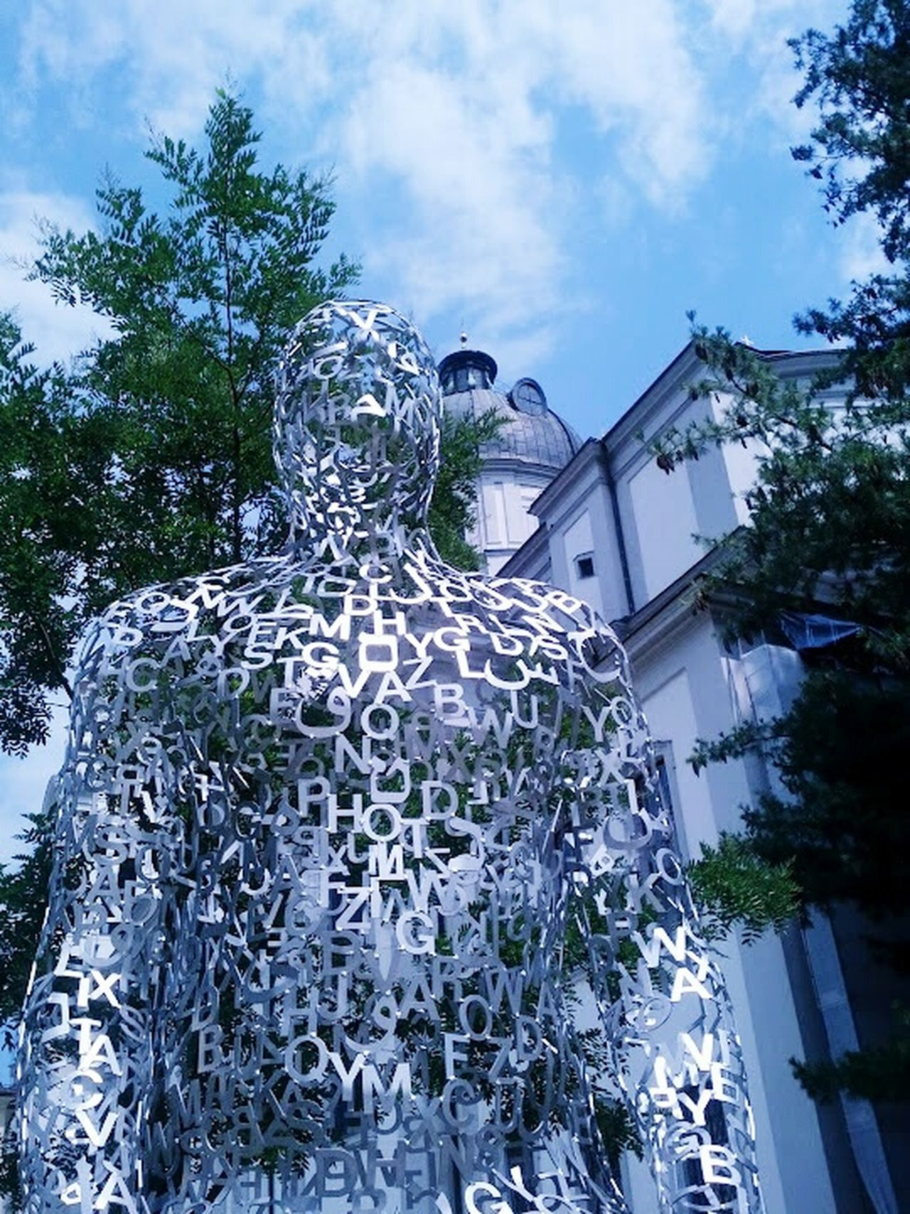 Tryptic Jaume Plensa Salzburg, Austria Salzburg Oldtown Furtwenglerpark ArtWork Blue & White Sunny Day Art Church Statue Trees Green Trees Blue Sky Summer Whiteclouds Steelart Metal