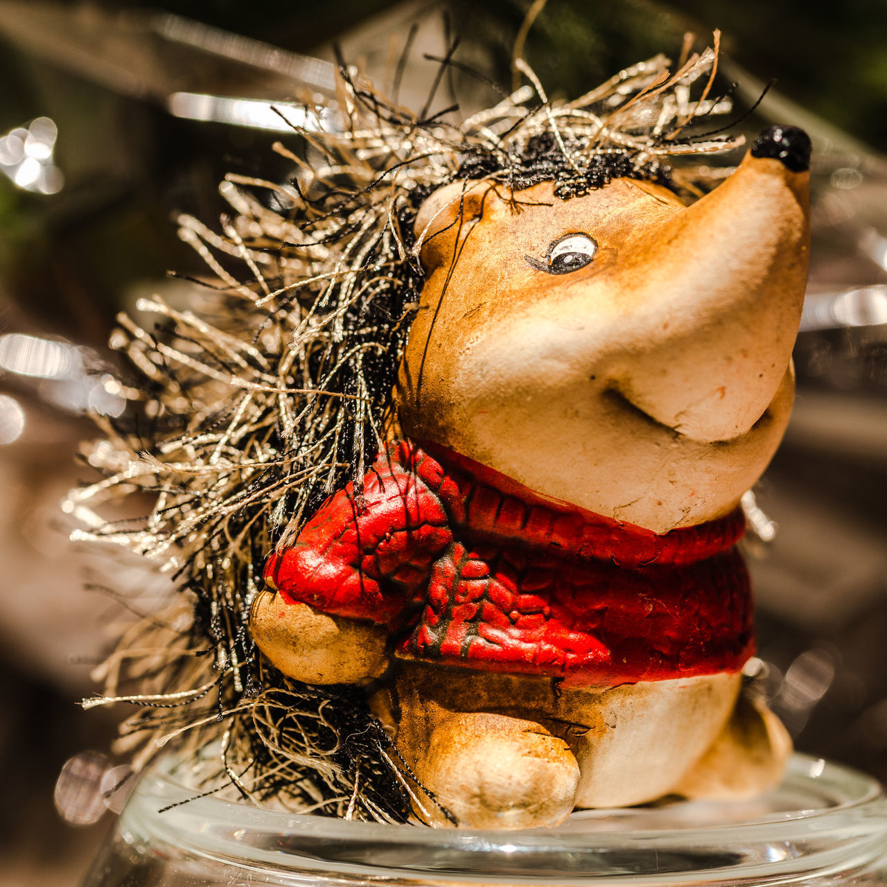 Animal Themes Close-up Day Focus On Foreground Stone Hedgehog Red Color Wool Hair Smiling Hedgehog Hedgehog Indoors  No People Posing Of Hedgehog