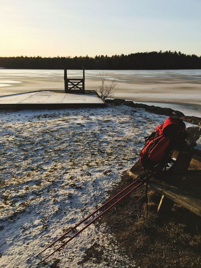 Ice Winter Ice Rod Ice Pick Rod Pick Backpack Pause Winter Activities Rucksack Packsack Tranquility Tranquil Scene Peace And Tranquility Relax Relaxing Snow Sun Winter Sun Frozen Frozen Lake