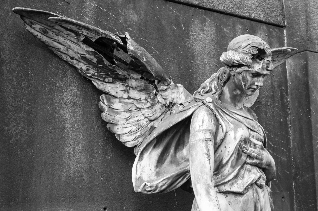 Abandoned Angel Angle Architecture Berlin Photography Berliner Ansichten Black & White Cemetery Churchyard Close-up Damaged Day No People Outdoors Sculpture Statue
