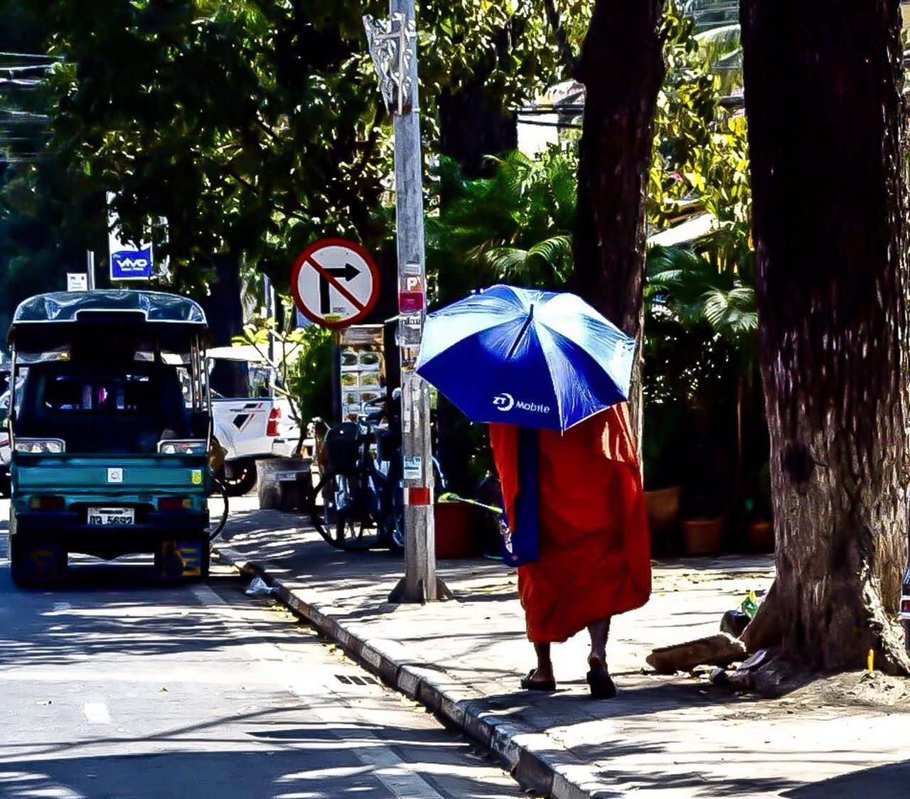 Ancien Bonze Real People Tree Rear View Transportation Outdoors Footpath City Urbanphotography Streetphotography ASIA Laos Vientiane 500px Instagram Lifestyles Nikon Road Monk