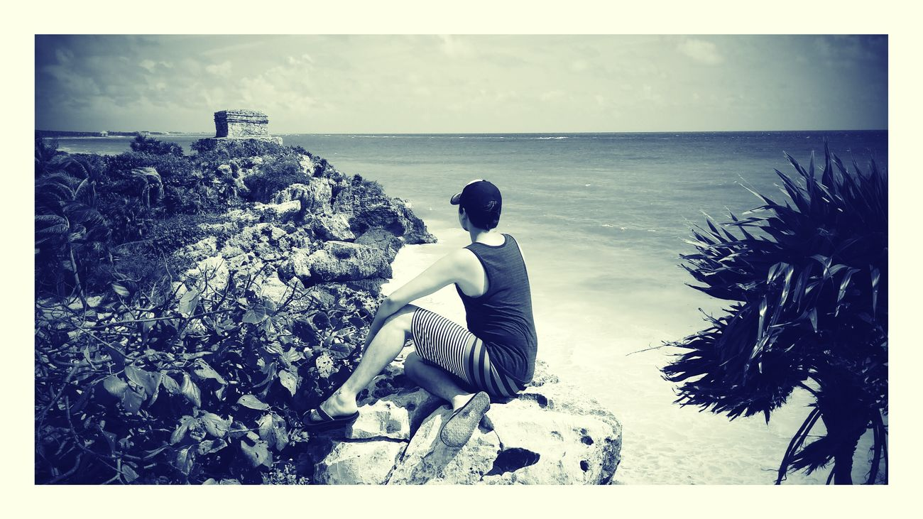 Staring out into the Caribbean Sea, reflecting on ancient energy left behind from the Tulum Mayan ruins. Tulum , Rivera Maya. Mayan Ruins Carribean Sea History Peaceful Nature Blackandwhite