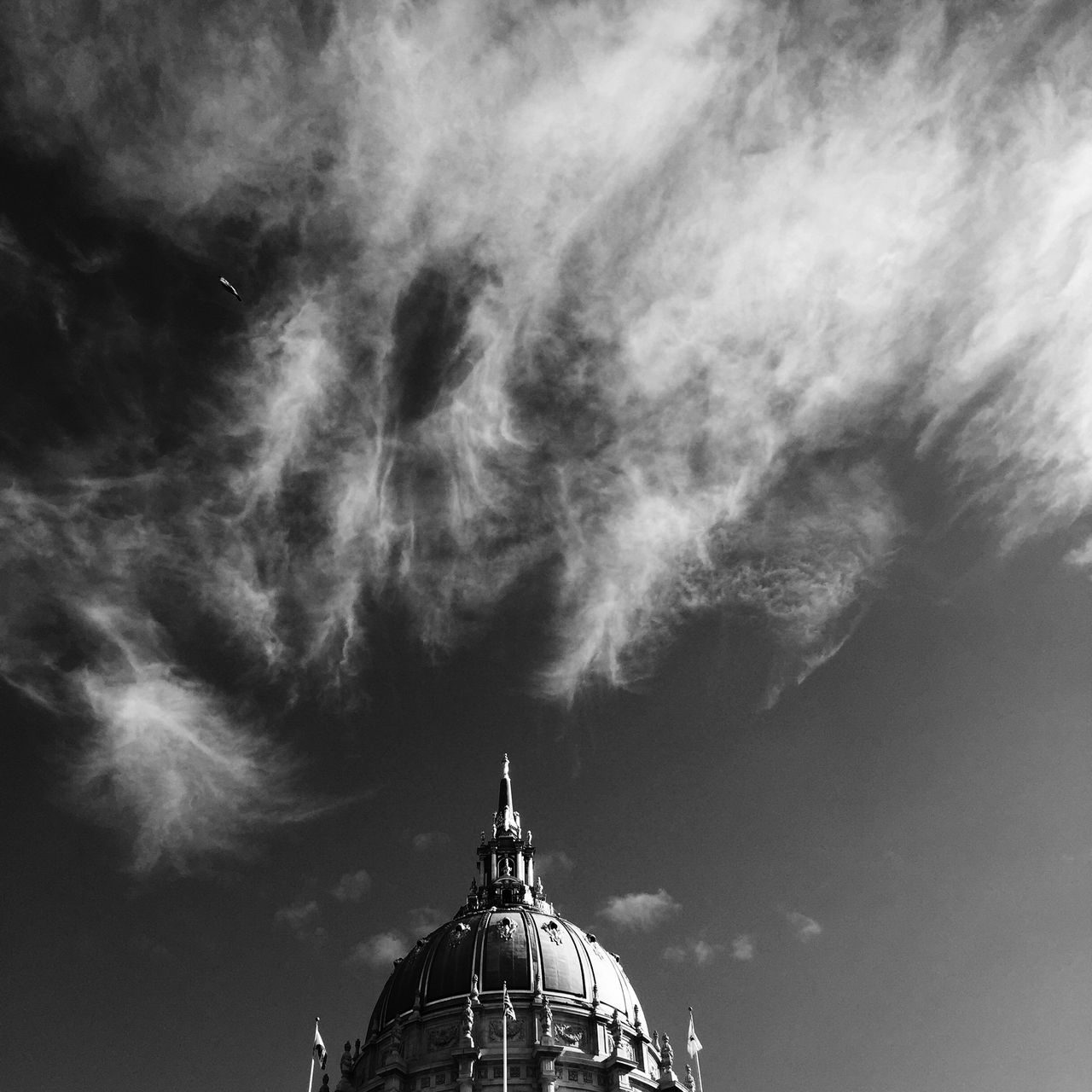 San Francisco City Hall, San Francisco, USA. Architecture Black And White Building California Cloud - Sky Clouds Day IPhone IPhoneography Monochrome Monochrome Photography No People Outdoors San Francisco San Francisco City Hall Sky Sky And Clouds Square Statue Travel Destinations USA
