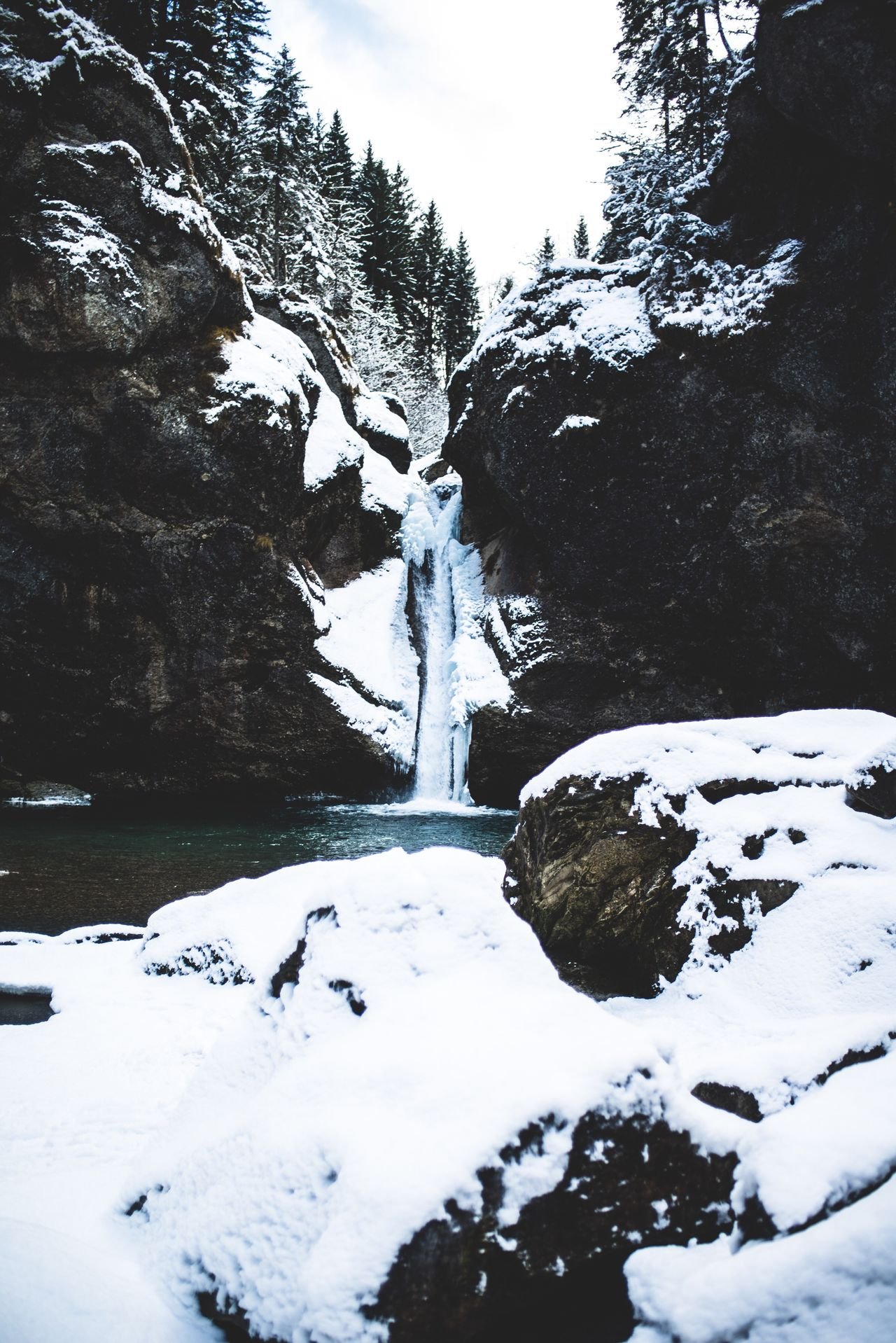 Snow Winter Nature Frozen Mountain Outdoors No People Waterfall