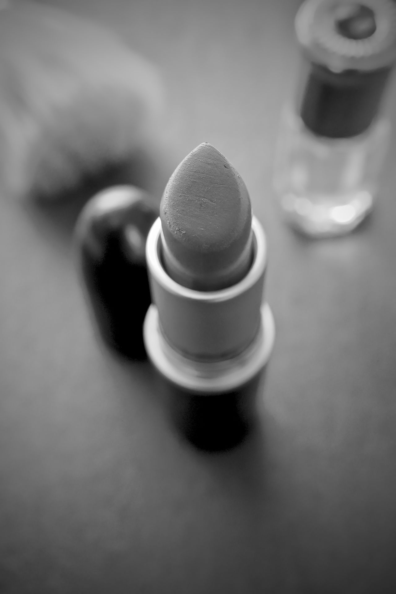 Black And White Black Background Brush Close-up Lipstick Macro Make Up Top Down