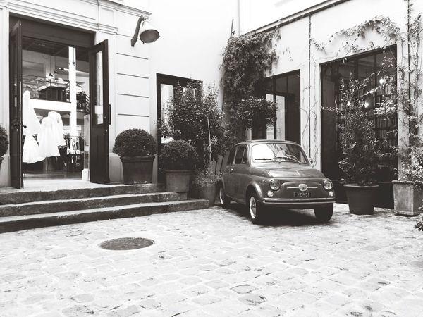 Vintage Car Traveling Paris Blackandwhite