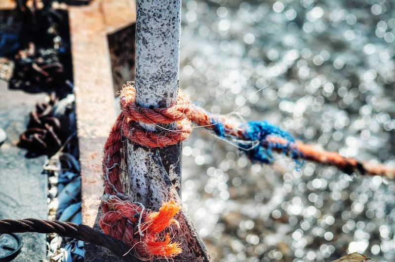 Rusty Metal Rope At The Sea Selective Focus Sea Water Bokeh Seaside From My Point Of View Personal Perspective Malephotographerofthemonth Summer Views Summertime Seashore Rusty Ropeway Rope Swing GrungeStyle Rustic Rusty Things Still Life StillLifePhotography