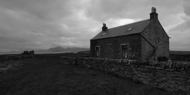 St Ninian's Aisle, Isle of Bute with Arran in the background. Architecture Arran  Building Exterior Built Structure Buterfly Cloudy Countryside European  House Island Isle Of Bute Landscape Outdoors Remote Rural Scene Scotland Solitude
