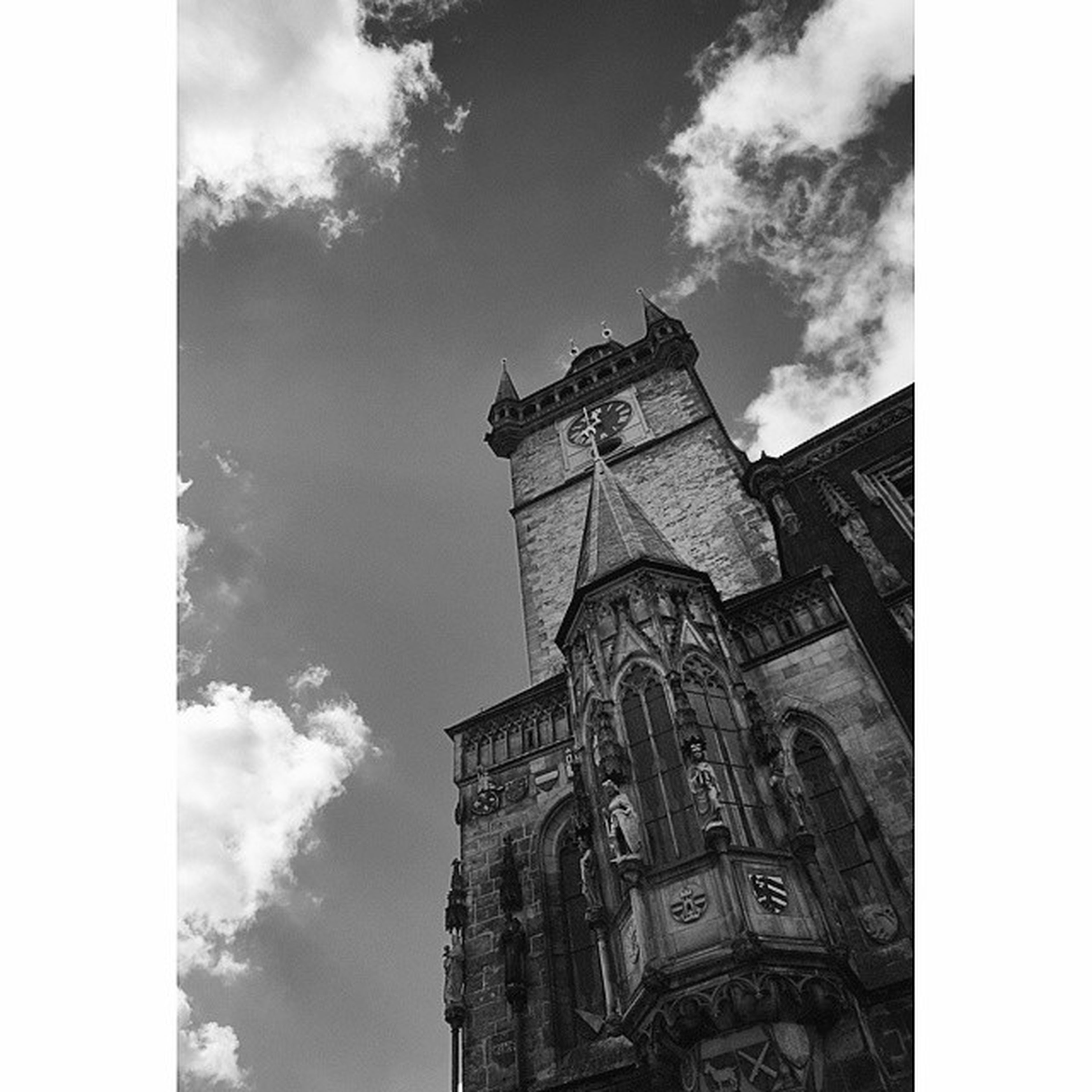 architecture, building exterior, built structure, religion, low angle view, church, sky, place of worship, transfer print, spirituality, clock tower, history, tower, auto post production filter, cathedral, clock, cloud - sky, famous place