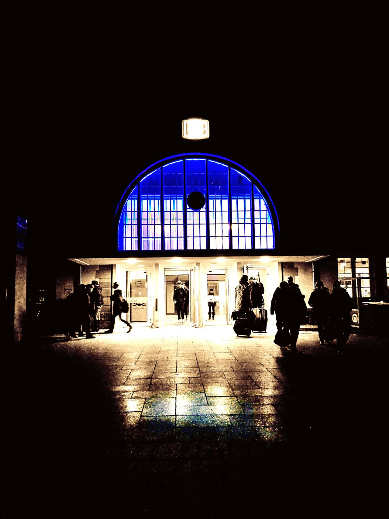 Architecture Arch Travel Destinations Railroad Station Built Structure Illuminated Blue Blue Color Huawei P9 Leica HuaweiP9 HuaweiP9Photography Huaweiphotography Bahnhof Haltern Am See