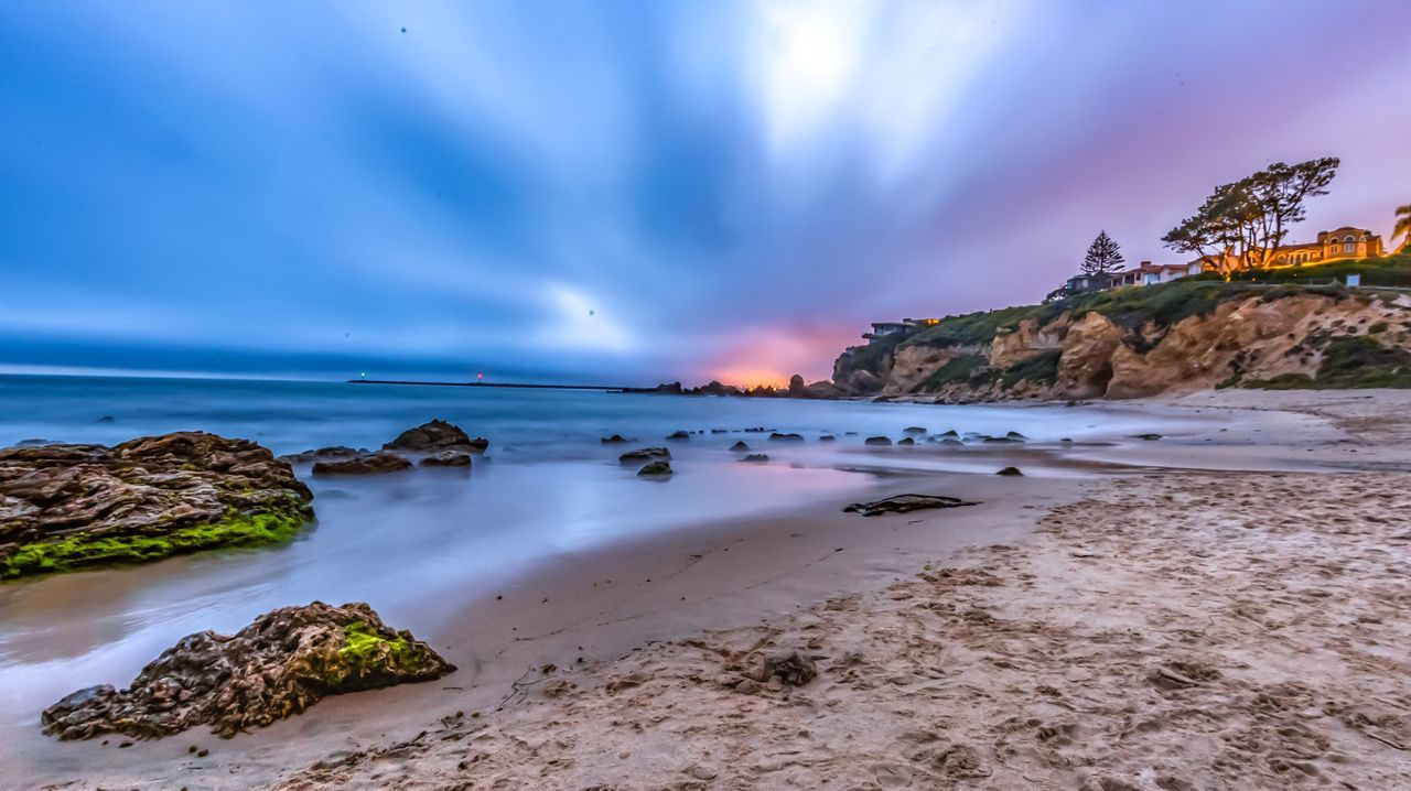 Magic Hour Sea Corona Del Mar corona Del Mar beach, Little Corona, California, Long Exposure, Landscape, long exposure, sky, clouds, overcast, Newport Beach, Orange County, Southern California, cliffs, Nature Sky
