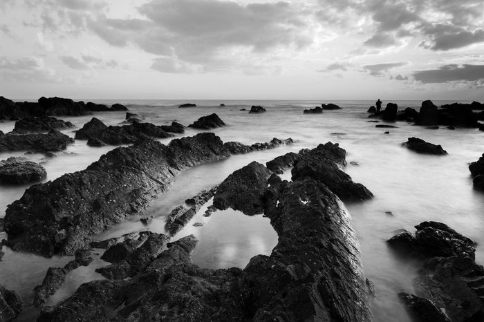Cloud Formation Beach Beauty In Nature Cloud - Sky Day Horizon Over Water Nature No People Outdoors Rock - Object Rock Formation Scenics Sea Sky Tranquil Scene Tranquility Water