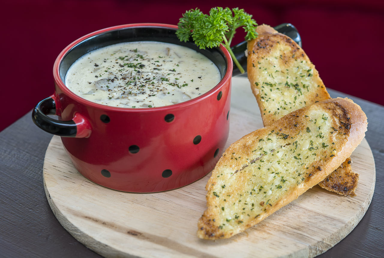 champignon cream soup serve with bread Bread Brown Bread Champignon Cream Food Food And Drink Food Styling Freshness Healthy Eating Soup Toasted Bread
