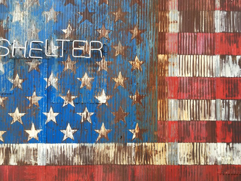 Blue Day Backgrounds No People Outdoors Close-up American Flag Metal Vintage Brooklyn Neon Lights