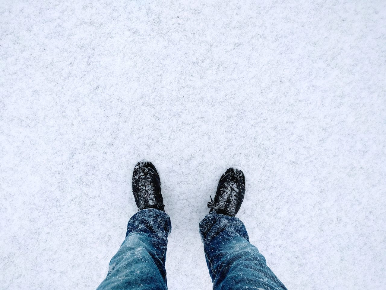 Low Section Personal Perspective Human Leg Human Body Part Shoe Standing One Person Lifestyles Close-up Adults Only Winter Day People Outdoors One Man Only Adult Only Men Snow First Snow White Color Winter Winter Wonderland Wintertime Jeans Copy Space