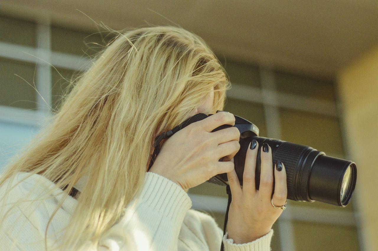 Professional Photographer Camera Working Concentration Woman With Camera Woman Photographer