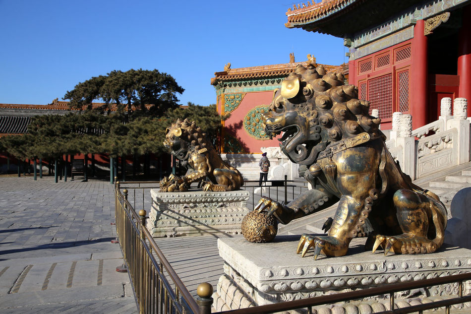 Forbidden City, Lion Statue Architecture Chinese Dragon Cultures Day Horizontal No People Outdoors Sculpture Statue Travel Destinations Pagoda Building Pagode Backgrounds Pagoda Temple Forbidden City, Beijing, China Forbidden City Pagoda Pagodas