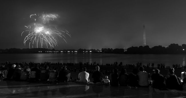 Fourth of July Fireworks from the Capital of the United States City City Life DC Fireworks Glowing Illuminated Leisure Activity Lifestyles Lighting Equipment Night Outdoors Sky Tourism Travel Destinations Washington DC Washington, D. C.