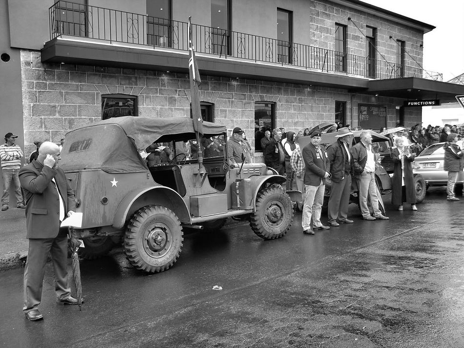 ANZAC Architecture Arm Army Black And White Photography Building Exterior Built Structure City Day Land Vehicle Landrover  Lestweforget Manual Worker Men Military Mode Of Transport Monochrome Occupation Outdoors People Real People Teamwork Transportation Working EyeEmNewHere