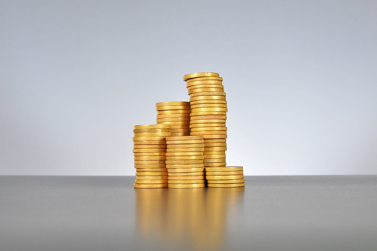 stack of gold coins Ascending Banking Buy Cash Coins Cost Currency Descending Economy Expenses Finances Financial Forex Fund Golden Goods Hike Investment Money Payment Price Purchase Savings Stack Stock